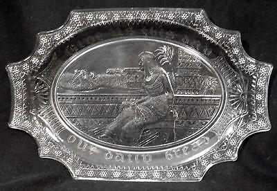 QUEEN CLEOPATRA Antique Vintage Egyptian Glass Bread Plate Dish Tray Sphinx EAPG