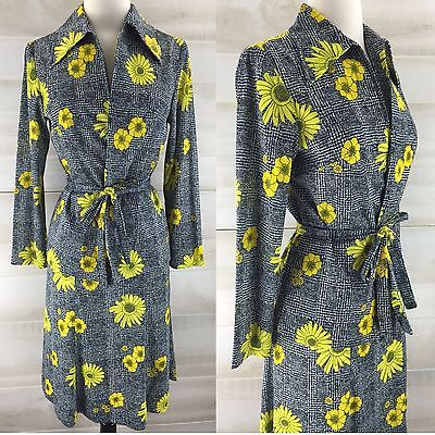 Vintage 60s 70s neon yellow floral plaid skirt set belted hippie disco S M