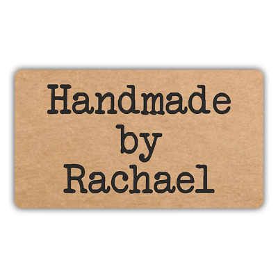 65 x PERSONALISED KRAFT EFFECT MINI STICKERS LABELS CRAFT HANDMADE BY
