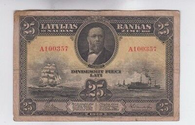 Latvia  Paper Money  one old note fine