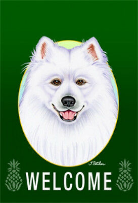 Large Indoor/Outdoor Welcome Flag (Green) - Samoyed 74077