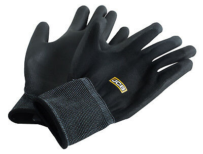 10 x Pairs JCB Black PU Coated Polyester Work Safety Gloves Grip Mechanics New