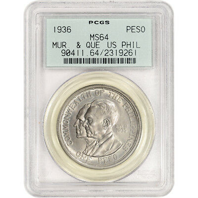 1936 USA Philippine Silver Peso - Murphy Quezon - PCGS MS64