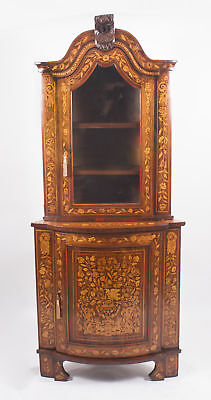 Antique Dutch Walnut & Floral Marquetry Corner Cabinet c.1780