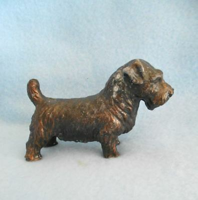 Unusual Vintage Metal Sealyham Terrier Dog Figurine Germany c1930s Copper Clad