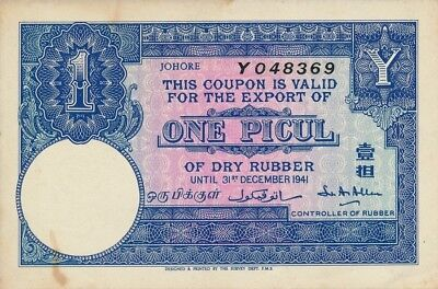 Export of Dry Rubber Malaysia  1 Picul 1941   UNC
