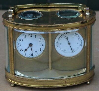 Old Heavy Quality Oval Dome Shaped Brass Carriage Clock With Barometer To Repair