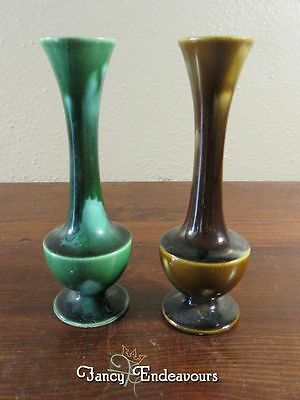 TWO Unusual Mid Century Modern Long Neck Drip Glaze Miniature Pottery Vases