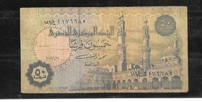 Egypt #62F 2002 Vg Used 50 Piastres Banknote Paper Money Currency Bill Note