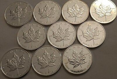 TEN 2009 Canadian $5 Maple Leaf coins. Each is 1 ozt .999 fine silver.