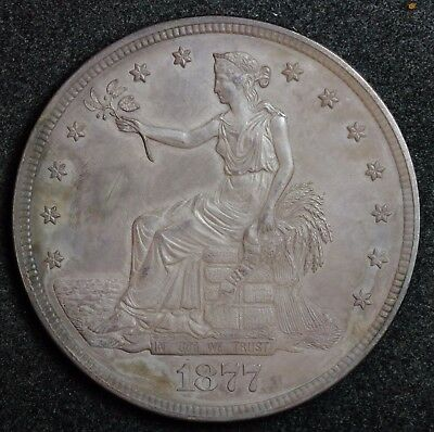 1877 Trade Dollar.  Proof. Original Uncleaned Obverse Toned.  Rev. White. 119593