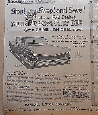 Large 1959 newspaper ad for Ford - Galaxie Ford Victoria, Summer Swapping Bee