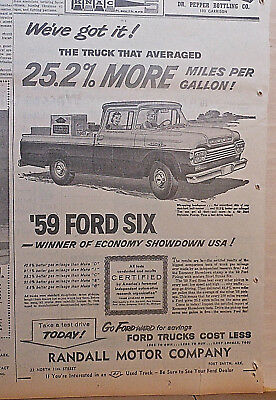 Large 1959 newspaper ad for Ford - Pickup with Short Sroke Six, 25.2% more mpg