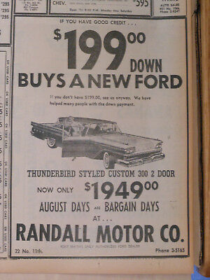 1959 newspaper ad for Ford - Thunderbird Styled Custom 300 2 door