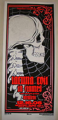 2006 Lacuna Coil & In Flames - Silkscreen Concert Poster S/N by Mike Martin
