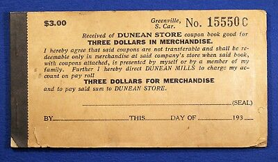 Interesting coupon booklet - Dunean Mills Store, $3.00, Greenville, S.C.