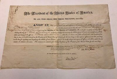 John Quincy Adams Document Signed as President - Uncommon Military Appointment