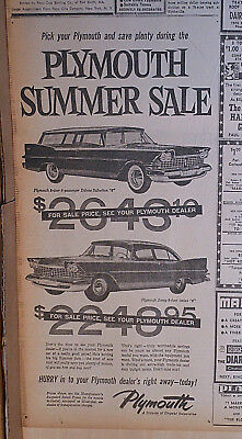 Large 1959 newspaper ad for Plymouth - Summer Sale, Deluxe Suburban, Savoy 2-dr