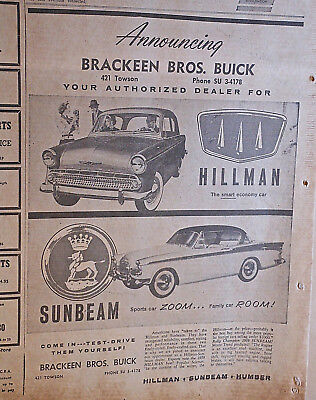 1959 newspaper ad for Hillman and Sunbeam cars - Sports Car Zoom, Economy car