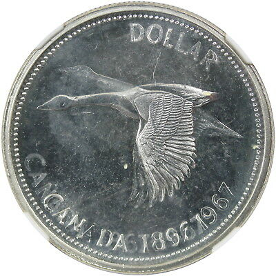 1967 Canada $1 Mint Error 64 Prooflike, Double Struck - Rotated in Collar