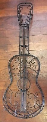 """VINTAGE WROUGHT IRON GUITAR 6 STRING  ACOUSTIC WALL DECOR  1960s  32"""" INSTRUMENT"""