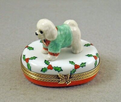 New French Limoges Trinket Box Cute Bichon Frise Dog Puppy On Christmas Holly