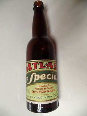 Prohibition Atlas Special Brew Labeled Bottle Atlas Brg Chicago Illinois Ill Il