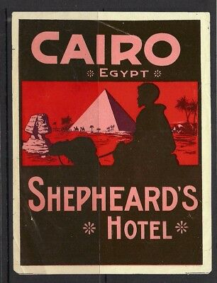 Egypt Shepheard's Hotel luggage label Cairo Camel Sphinx Pyramid