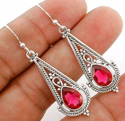 """3CT Rubellite Tourmaline 925 Solid Sterling Silver Earrings Jewelry 1 7/8"""" Long"""