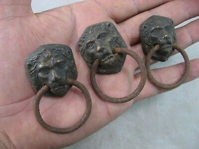 Lion Head Pulls Lot Of 3 Drawer Handle Brass Face, Small Vintage Antique
