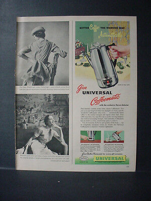 1951 Universal Coffeematic Coffee Maker Vintage Print Ad 11244