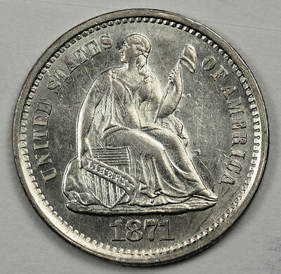 1871-s  Seated Liberty Half Dime.  Nice B.U.  84711