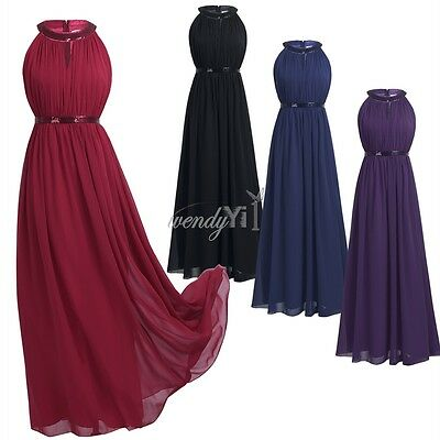 Halter Women's Long Chiffon Evening Formal Party Ball Gown Prom Bridesmaid Dress