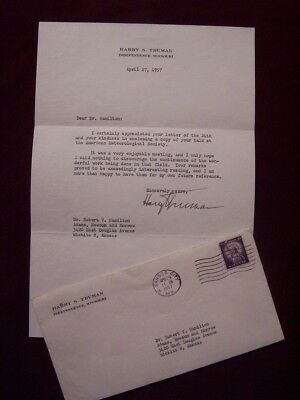 President Harry S Truman signed typed letter TLS autograph with envelope