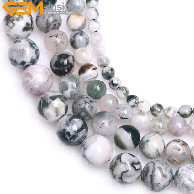 """Round Natural Gemstone Green Moss Tree Agate Loose Beads For Jewelry Making 15"""""""