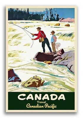 Canadian Pacific 1950s Vintage Style Fly Fishing Poster - 16x24