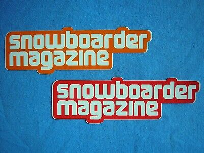 Lot Of Two Oop Vintage Snowboarder Magazine  Stickers Red & Orange Brand New!