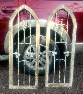 Antique Architectural French Wrought Iron Door Insert PAIR Arched Top Wood Frame