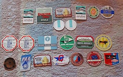 Lot of 21 Luggage Labels - 16 Hotels & 5 Airlines