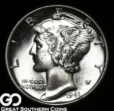 1941-D Mercury Dime, Full Split Bands, Gem BU++ FSB