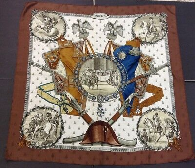 "Hermes of Paris-100% Silk Multi Color Scarf-Napoleon Theme-32x32""-France"