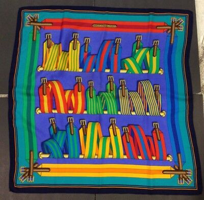 "Hermes of Paris-100% Silk Multi Color Scarf-Bright Colors-32x32""-Belts Theme"