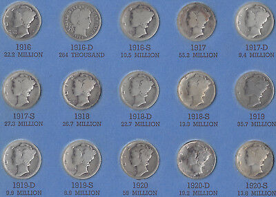 Mercury Dime Collection - 75 different silver dimes - 1916 to 1945  **Bonus 1914