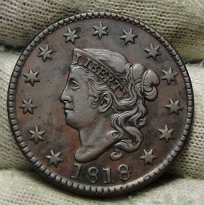 1818 Penny Coronet Large Cent -  Nice Coin, Free Shipping  (6172)