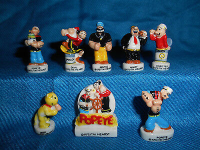 POPEYE Set of 8 Miniature Figures FRENCH PORCELAIN Epiphany FEVES Mini Figurines