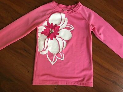 Gymboree Girls Swimsuit Rash Guard  Hot Pink With Flower And Bling Size 8
