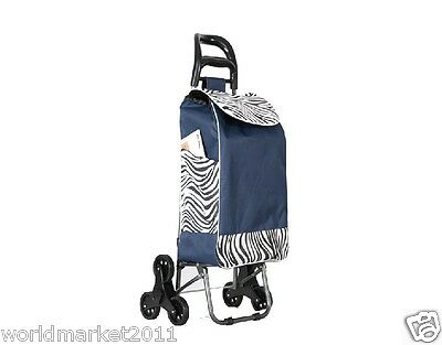%H Convenient Zebra Pattern Six-Tire Collapsible Shopping Luggage Trolleys