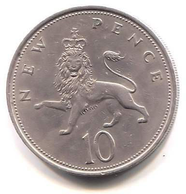 Great Britain 1971 Ten New Pence Coin United Kingdom England Queen Elizabeth II