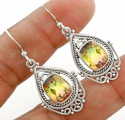 5CT Double Color Tourmaline Quartz 925 Sterling Silver Earrings Jewelry