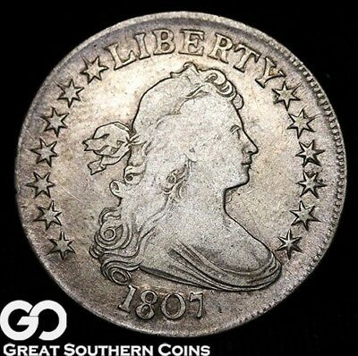1807 Draped Bust Half Dollar, Highly Collectible Silver Type, Choice VF++/XF!
